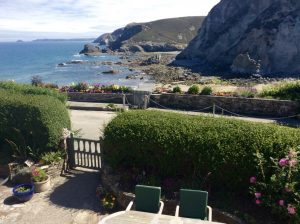 Garden with Sea Views, Trevaunance Cove Cottages, Cliff House